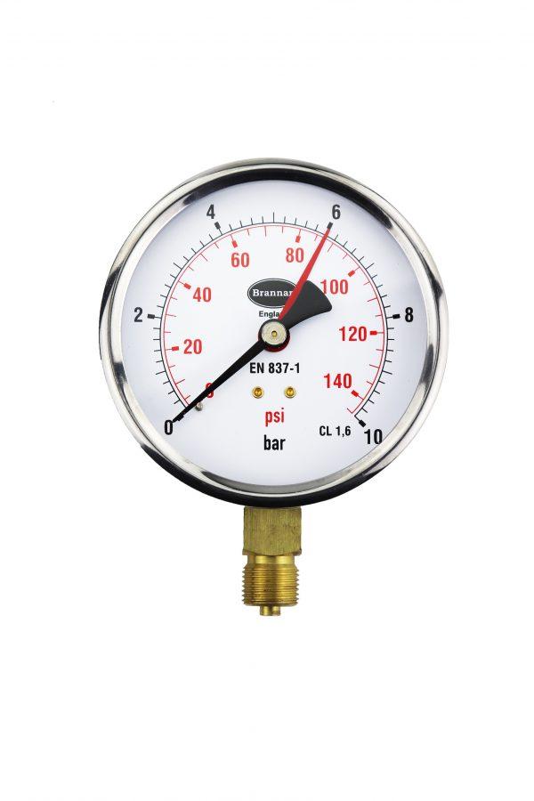 black steel pressure gauge with bezel