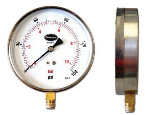 Stainless steel case contractor pressure gauge